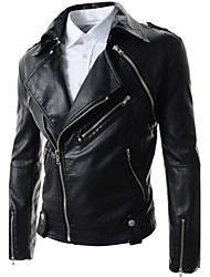 Men's Daily Fashion Spring Fall Leather Jackets,Solid Long Sleeves Faux Leather