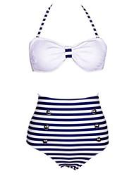 Frauenstreifen ausdrucken weiß / navy blau bikini, vintage Halfter Hochhaus