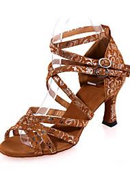 povoljno -Žene Cipele za latino plesove Filc Sandale Unutrašnji Seksi blagdanski kostimi Vježbanje Kopča Životinjski uzorak Deblja visoka potpetica