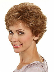 cheap -Capless Brown Color Short Synthetic Curly Hair Wig Full Bang