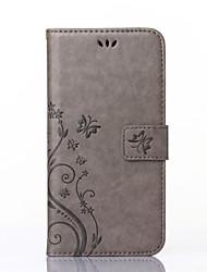 baratos -Corpo Completo carteira / Entrada de Cartão / com suporte / Em relevo Borboleta Couro Ecológico Duro Case Capa Para HuaweiHuawei P8 Lite