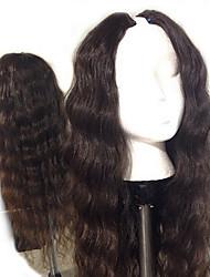 Недорогие -Натуральные волосы U-образный Парик Средняя часть стиль Бразильские волосы Естественные кудри Природа Черный Парик 130% Плотность волос / Природные волосы / 100% ручная работа / с детскими волосами