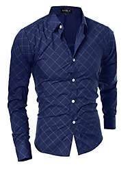 Masculino Camisa Casual / Escritório Xadrez Manga Comprida Algodão / Poliéster Preto / Azul / Cinza