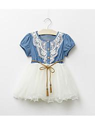 povoljno -Djevojka je Pamuk Poliester Žakard Proljeće Ljeto Jesen Kratkih rukava Haljina Svečana odjeća Dark Blue Svjetloplav