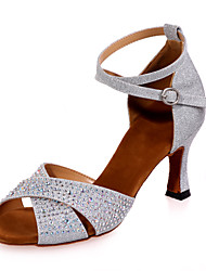 "cheap -Women's Latin Glitter Sandal Performance Flared Heel Black Brown Silver Red Blue 2"" - 2 3/4"" Customizable"