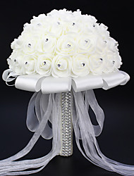 cheap -Elegant White Sash Handmade Wedding Brooch Bouquets Bridal Bouquet