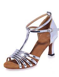 cheap -Latin Shoes Leatherette Sandal Flared Heel Customizable Dance Shoes Gold / Silver / Performance
