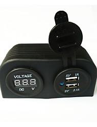 abordables -agua Lossmann adaptador de cargador de coche de doble USB resistente y voltímetro digital