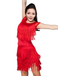 preiswerte -Latein-Tanz Austattungen Damen Leistung Polyester Elasthan Quaste Top Rock