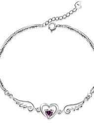 abordables -Femme Chaînes & Bracelets / Charmes pour Bracelets - Argent sterling Ailes d'anges Bracelet Blanc / Violet Pour Regalos de Navidad / Mariage / Soirée
