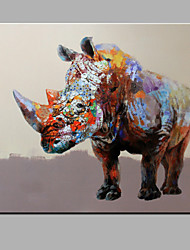 cheap -Single Modern Abstract Pure Hand Draw Ready To Hang Decorative  The Rhino  Oil Painting
