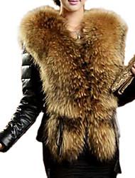 fausse fourrure noire chaude à manches longues pour femmes, doublée, polyester