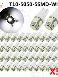 cheap -50 X White red yellow green blue pink ice blue warm white T10 /921/912 Interior/License Plate SMD Light Bulbs 5050 5-LED