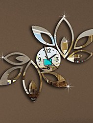 Fashion Top Grade Creative DIY Acrylic Mirror Wall Wall Poster Lotus Flower Removable Wall Clock