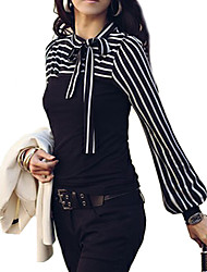 cheap -Women's Fine Stripe Bow Neck Stripes Print Long Sleeves T-shirt