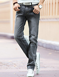 Men's Mid Rise Micro-elastic Straight Jeans Pants,Casual Punk & Gothic Solid Cotton All Seasons