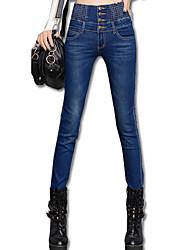 Mulheres Sensual Cintura Alta Micro-Elástica Justas/Skinny Jeans Calças, Algodão Elastano Todas as Estações Sólido