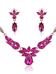 Недорогие -Кристалл Комплект ювелирных изделий - Позолоченное розовым золотом Массивный, Для вечеринки, Мода Включают Пурпурный Назначение Для вечеринок Особые случаи Годовщина / Серьги / Ожерелья