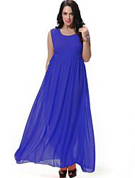 cheap -Women's Plus Size Boho Chiffon Swing Dress - Solid Colored High Rise Maxi