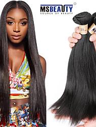 billige -3 Bundler Brasiliansk hår Lige Menneskehår Menneskehår, Bølget Menneskehår Vævninger Blød / Sort / Dame Menneskehår Extensions / Ret