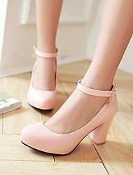 お買い得  -女性用 靴 レザーレット 春 夏 チャンキーヒール プラットフォーム のために カジュアル オフィス&キャリア ドレスシューズ ホワイト ブラック ピンク