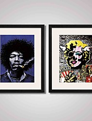 cheap -Framed Super Star Jimi Hendrix Smoking and  Marilyn Monroe Canvas Print Art for Wall Decoration  Ready To Hang
