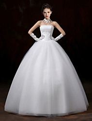cheap -Ball Gown Strapless Floor Length Lace Tulle Wedding Dress with Lace by Embroidered Bridal