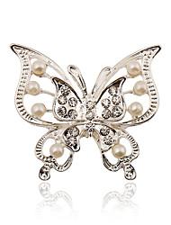placcatura d'argento / imitazione perle / strass spilla spilla a farfalla donne matrimonio / partito 1pc