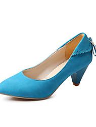 cheap -Women's Heels Spring Summer Fall Comfort Fleece Office & Career Dress Casual Cone Heel Bowknot Lace-up Black Beige Brown Red Blue Walking