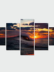 cheap -5 Panel Wall Art Modern Landscape Paintings Sea Sunset Canvas Wall Pictures Artwork Print On Canvas(No Frame)