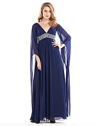 Linha A Decote V Até o Tornozelo Chiffon Vestido Para Mãe dos Noivos - Miçangas Drapeado Lateral de LAN TING BRIDE®