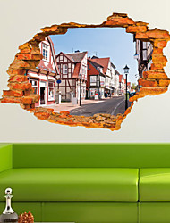 cheap -3D Broken Wall Building Sticker Landscape Removable Vinyl Mural Art Wallpaper Decal Home Bedroom Decor Wall Stickers