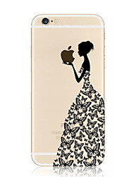 Butterfly Girl Eating Apple Pattern TPU Soft Case for iPhone 7 7 Plus 6s 6 Plus SE 5s 5
