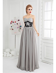 cheap -Ball Gown Sweetheart Floor Length Chiffon Formal Evening Dress with Appliques Side Draping by SGSD