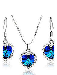 cheap -Women's Crystal Jewelry Set - Crystal Heart Include Red / Blue / Pink For Wedding Party Daily / Earrings / Necklace