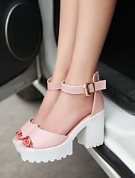 povoljno -Žene Cipele Umjetna koža Ljeto Kockasta potpetica Platformske cipele Kopča za Formalne prilike Obala Plava Pink