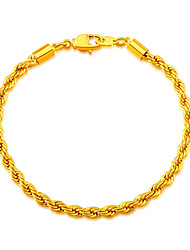 Rope Shaped 18K Gold Plated Bracelet Fashion Jewelry Wholesale New Trendy 20 CM Stainless Link Chain Bracelets B40057