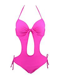 cheap -Women's Solid Solid High Rise Bandeau Monokini Swimwear Yellow Fuchsia