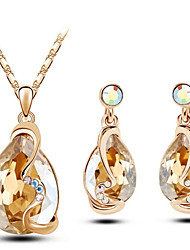 cheap -Women's Crystal Jewelry Set - Crystal Include Red / Blue / Golden For Wedding Party Birthday / Earrings / Necklace