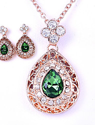 cheap -Women's Crystal Jewelry Set - Crystal Include Green / Blue / Pink For Wedding Party Daily / Earrings / Necklace