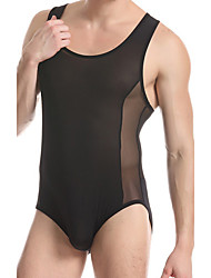 Men's fitness exercise leotard sexy underwear transparent nylon mesh breathable