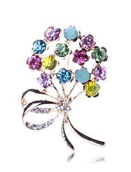 Женский Броши Цветочный дизайн Цветы Мода Pоскошные ювелирные изделия Цветочный принт Искусственный бриллиант В форме цветка Бижутерия
