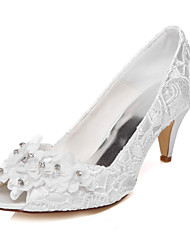cheap -Women's Shoes Sparkling Glitter Silk Spring Summer Comfort Low Heel Round Toe Appliques for Wedding Dress Party & Evening Ivory