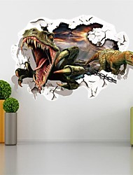 cheap -3D Dinosaurs Through The Wall Stickers Jurassic Park Home Decoration Zooyoo Cartoon Kids Room Wall Decal Movie Mural Art