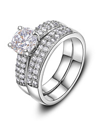 cheap -T&C Women's White Gold Plated 4 Prongs 1ct Brilliant with Pave Band Cubic Zirconia Wedding Ring Set