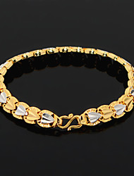 Popular heart shape 18K Gold Plated Bracelet Fashion Engagement Bracelet for Women Good  Wholesale B40194 Christmas Gifts