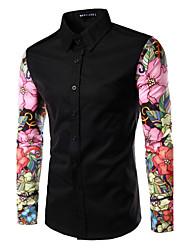 cheap -Men's Slim Shirt - Floral Patchwork Spread Collar