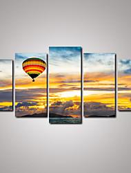 cheap -5 Panels Sunrise Beautiful Clouds  and Balloon Canvas Print Modern Wall Art for Home Decor Unframed
