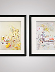 cheap -Framed Art Print Framed Canvas Framed Set Abstract Still Life Floral/Botanical Fantasy Wall Art, PVC Material With Frame Home Decoration