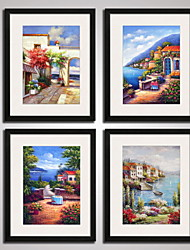 cheap -Framed The Mediterranean Landscape Painitng Canvas Print Modern Wall Art Set of 4 Ready To Hang